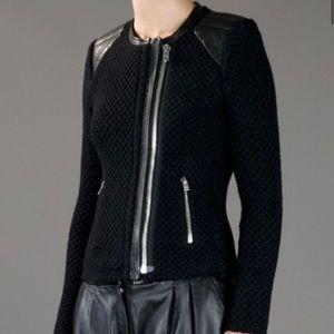IRO Natasha Leather Trim, Chunky Knit Wool Jacket